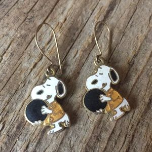 VTG 70s-80s Snoopy Bowling Cloisonne Earrings